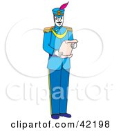 Clipart Illustration Of A Male Soldier In Blue Reading A Scroll by Cherie Reve