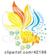 Clipart Illustration Of A Yellow And Orange Fish In Green And Blue Water by Cherie Reve