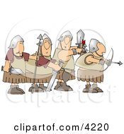 Four Roman Soldier Armed With Weapons And Ready For Battle