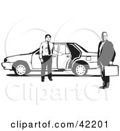 Clipart Illustration Of A Friendly Taxi Driver Holding The Door Open For A Businessman by David Rey