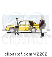Clipart Illustration Of A Taxi Driver By His Yellow Car Holding The Door Open For A Businessman
