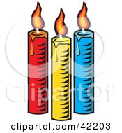 Clipart Illustration Of Three Colorful Burning And Melting Candles