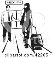 Clipart Illustration Of A Male Airport Attendant Directing A Woman To An Exit