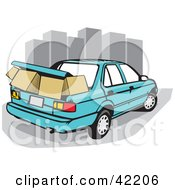 Clipart Illustration Of A Blue Car With Moving Boxes Packed In The Trunk Near City Skyscrapers