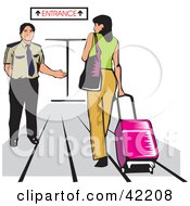 Clipart Illustration Of A Male Airport Attendant Directing A Woman To An Entrance by David Rey