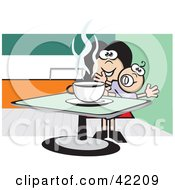Clipart Illustration Of A Happy Mom Holding Her Baby And Drinking Coffee In A Diner