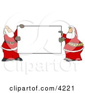 Two Santas Holding A Blank Sign Clipart