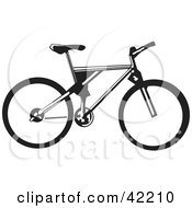 Clipart Illustration Of A Black And White Bicycle