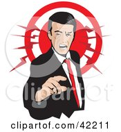 Clipart Illustration Of A Pissed Businessman Pointing And Yellowing With A Red Circle