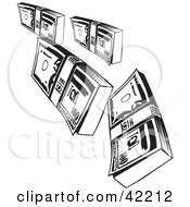 Clipart Illustration Of Falling Bundles Of Money