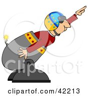 Male Human Cannonball In A Helmet Preparing To Shoot Out Of A Cannon