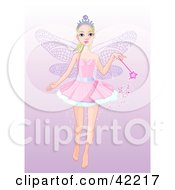 Clipart Illustration Of A Pretty Fairy Princess Flying With A Magic Wand On A Gradient Purple Background