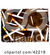 Clipart Illustration Of A Background Of Grungy Cigarettes On Brown