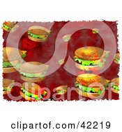 Background Of Grungy Cheeseburgers On Red