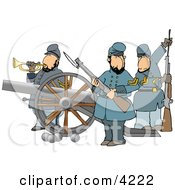 Union Soldier Armed With Rifles And A Canon Clipart