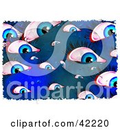 Clipart Illustration Of A Background Of Grungy Blue Eyes