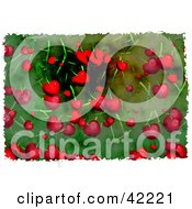 Clipart Illustration Of A Background Of Grungy Cherries On Green by Prawny
