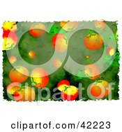 Clipart Illustration Of A Background Of Grungy Oranges On Green