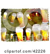 Clipart Illustration Of A Background Of Grungy Glasses Of Beer