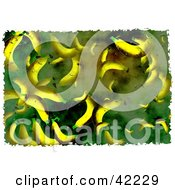 Clipart Illustration Of A Background Of Grungy Bananas On Green by Prawny