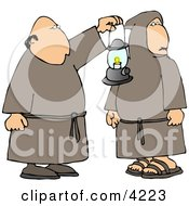 Two Religious Monks With A Lantern At Night Clipart