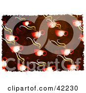 Clipart Illustration Of A Background Of Grungy Hot Cups Of Coffee On Red by Prawny