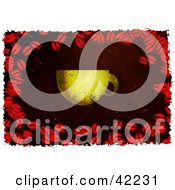 Clipart Illustration Of A Background Of Grungy Coffee Beans And A Cup