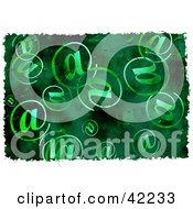 Clipart Illustration Of A Background Of Grungy Arobase At Symbols On Green