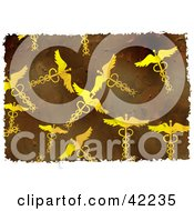 Clipart Illustration Of A Background Of Grungy Caduceus Symbols On Brown