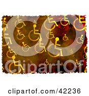 Clipart Illustration Of A Background Of Grungy Wheel Chairs On Brown by Prawny