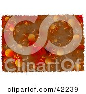 Clipart Illustration Of A Background Of Grungy Red And Orange Suns
