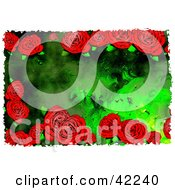 Clipart Illustration Of A Background Of Grungy Red Roses On Green by Prawny
