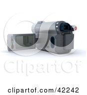 Clipart Illustration Of A 3d Video Camera With The Screen Flipped Out