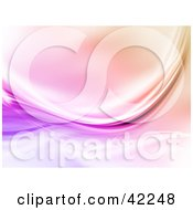 Clipart Illustration Of A Purple Wave Swooshing Over A Pink Background