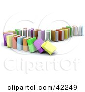 Clipart Illustration Of A Standing Row Of Colorful Books Collapsing by KJ Pargeter