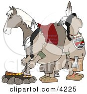 Alert Indians Standing Beside A Campfire And Horse Clipart