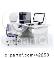 3d White Character Gamer Sitting At A Computer Desk