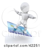 Clipart Illustration Of A 3d White Character Surfing On A Blue Credit Card by KJ Pargeter