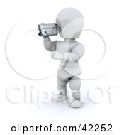 Clipart Illustration Of A 3d White Character Using A Video Camera To Film A Home Video