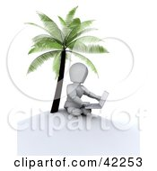 3d White Character Using A Laptop On A Deserted Island