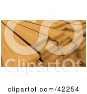 Clipart Illustration Of Piles Of Oak Wood In A Lumber Yard
