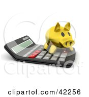 Clipart Illustration Of A 3d Gold Piggy Bank On Top Of A Calculator