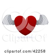 3d Red Heart With White Flapping Wings