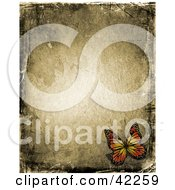 Clipart Illustration Of A Pretty Butterfly In The Corner Of A Brown Grunge Background