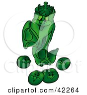 Clipart Illustration Of A Happy Pea Watching Its Pods
