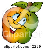 Clipart Illustration Of A Happy Apple Smiling