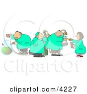 Four Scientists Testing Chemicals In A Science Lab Clipart