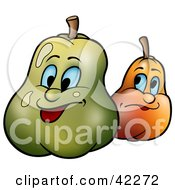 Clipart Illustration Of Two Expressive Pears
