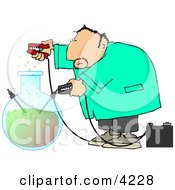 Male Scientist Experimenting With Chemicals Clipart