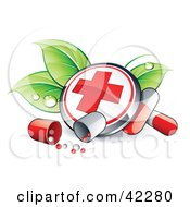 Clipart Illustration Of A First Aid Button On Dewy Leaves With Pills